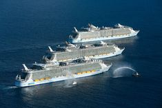 History has been made thanks to three of the world's largest cruise ships meeting up for the very first time