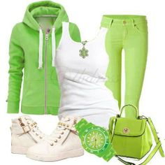 Casual outfit - Lime green ensemble.