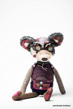 OOAK art doll handmade colourful teddy bear Julian soft toy character violet grey pink