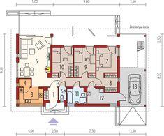Eryk (z wiatą) - Rzut parteru Floor Plans, Kitchen, Floor Plan Drawing