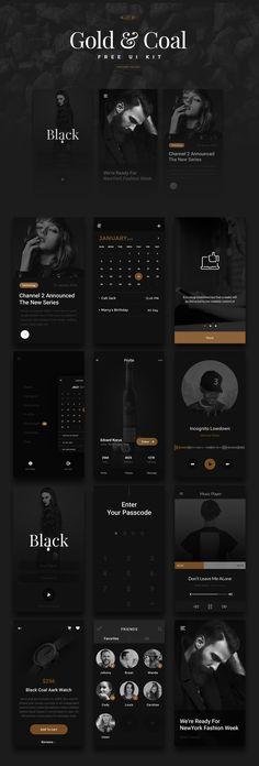 Luxury (Gold & Coal Color) UI Kit - Free Download #freepsdfiles #uikits #uidesign #uxdesign #webui #mobileui