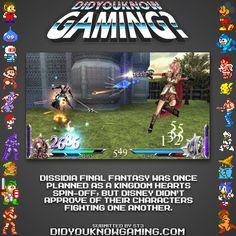 Final Fantasy Dissidia & Kingdom Hearts.  http://www.siliconera.com/2009/06/30/dissidia-final-fantasy-originated-from-kingdom-hearts/