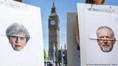 """No último dia de campanha das eleições gerais britânicas, a manchete do tabloide de direita não esconde seu posicionamento: """"Vote em May ou enfrentaremos um desastre"""", estampa a capa do jornal Daily Express. A primeira página do The Sun diz: """"Os companheiros jihadistas de Jezza..."""