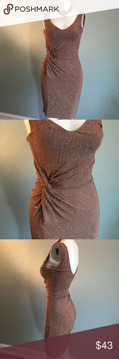 "GUESS Taupe Sparkly Bodycon Gently worn, this very stretchy party dress has built in knit lining. Bust 32"", waist 26"", length 36"" - with give because of the knit, but I would put this in the not-so-forgiving category so don't attempt unless you're a true XS. 95% acetate/5% spandex. Guess by Marciano Dresses"