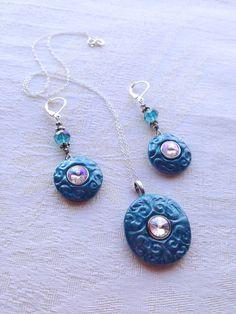 Handmade Polymer Clay Turquoise and Purple от CLINKeCreations