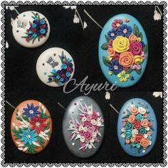 Cabo clay Polymer Project, Polymer Clay Projects, Clay Crafts, Diy And Crafts, Polymer Clay Flowers, Polymer Clay Jewelry, Polymer Clay Embroidery, Clay Tiles, Biscuit