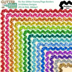Ric Rac Glitter Frames / Page Borders Clipart - 14 Colours