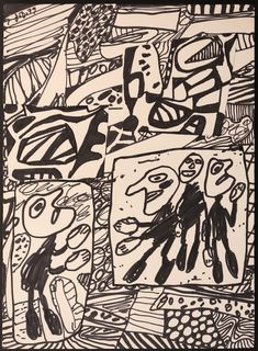 Jean Dubuffet Sans titre 1979 Encre et collage 35 x 25 cm Jean Dubuffet, Cool Art, Nice Art, Collage, Composition Design, Outsider Art, Various Artists, Line Drawing, Modern Art