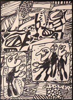 Jean Dubuffet Sans titre 1979 Encre et collage 35 x 25 cm Contemporary Artists, Modern Art, Jean Dubuffet, Cool Art, Nice Art, Collage, Composition Design, Outsider Art, Various Artists