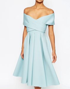 Image 3 of ASOS Premium Scuba Off The Shoulder Midi Dress