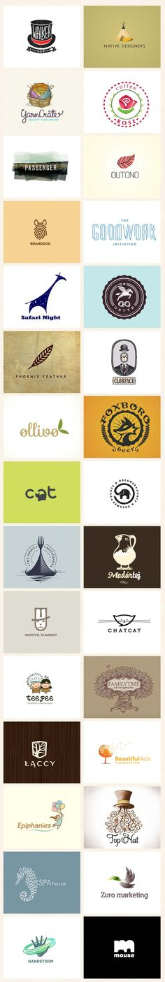 Logos  really like the simplicity of some of these....the burgundy leaf, the giraffe    #branding #logodesign #logo