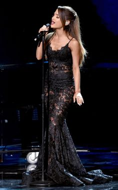 Ariana Grande Shows Some Skin in Sexy See-Through Dress for 2014 AMAs Performance