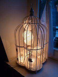 Guirlande lumineuse dans une cage à oiseaux blanche