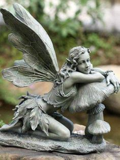 Garden Sitting Fairy Napco Marketing Corporation Outdoor Statuary Statues Home Decor Fairy Statues, Fairy Figurines, Garden Statues, Buddha Statues, Angel Statues, Sculpture Art, Sculptures, Magic Garden, Garden Fun