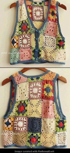 Transcendent Crochet a Solid Granny Square Ideas. Inconceivable Crochet a Solid Granny Square Ideas. Point Granny Au Crochet, Poncho Au Crochet, Crochet Jacket, Crochet Blouse, Crochet Squares, Crochet Stitches, Granny Squares, Crochet Vests, Granny Square Sweater
