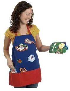 Make story time fun with Story Telling Apron! The apron's surface material holds felt characters for display as you tell the story. The storage pocket is also sufficiently large to hold enough characters.