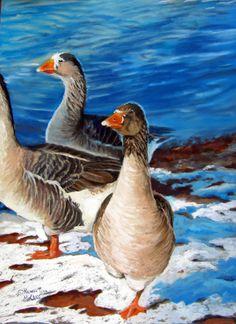 "Geese at Corn LakeOriginal Pastel Geese Painting ""Geese at Corn Lake"" by Colorado Artist Nancee Jean Busse"