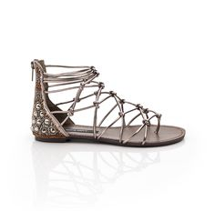 pewter metallic gladiator sandals <3