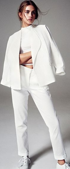 Maja E by Michel Widenius in 'White Out'  FGR Exclusive | Suit - Use Unused | Top -Topshop | Sneakers - Frisur