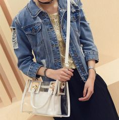 Classy Women Clear Transparent Jelly Shoulder Bag Messenger Bag sold by KoKo Fashion. Shop more products from KoKo Fashion on Storenvy, the home of independent small businesses all over the world. Fashion 2017, New Fashion, Fashion Beauty, Fashion Women, Style Fashion, Unique Handbags, Cute Handbags, Transparent Bag, Blue Party