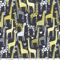Polka Dot Dots and Hearts Giraffe Love Fabric Gray Yellow Lime Michael Miller