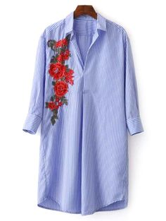 Only $16.99  for Striped Floral Embroidered Shirt Dress