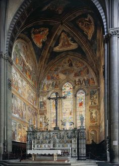 DOMENICO GHIRLANDAIO (1449 - 1494) |  Frescoes 1486/90. View of the Tornabuoni Chapel. Santa Maria Novella, Florence