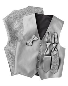 Winter Silver Wedding  Vest C Silk Satin Tie Pattern adorn the front Silver, four-button vest Paisley Back! Awesome!