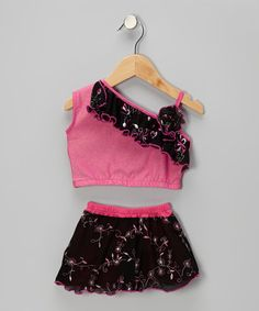 Take a look at this Pink Stacey Asymmetrical Crop Top & Skirt - Toddler & Girls by Orangia Blossom on #zulily today!