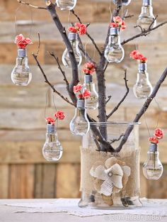 Turn a quirky lightbulb jar into a hanging vase! To create an opening for flowers, you will need to remove the black glass nub and inside lining from the cap. First, remove cap from lightbulb and place it on a hard surface. Using a small hammer and awl, very gently tap awl into nub to break the glass. Use tip of awl to remove any excess lining. Use needle-nose pliers and gently bend in any sharp metal edges in cap. Now just add water, screw cap back on and tuck in a posy!