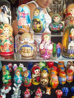 """Matryoshka"" dolls. (Russian dolls) I love these! The more in a set, the better (and more expensive)"