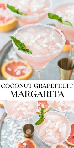 The ultimate these Coconut Grapefruit Margaritas are your next favorite go-to margarita cocktail for summer! Cocktail Margarita, Cocktail Drinks, Cocktail Recipes, Margarita Recipes, Grapefruit Cocktail, Fun Cocktails, Sangria, Refreshing Summer Cocktails, Summer Drinks