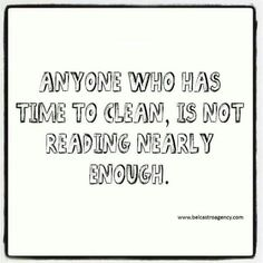 Books always win over cleaning!