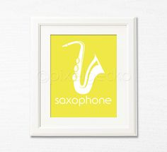 Saxophone Art Print in red add a text in a retro font & green, & shades of blue rays exploding from the end