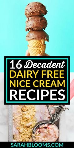 Satisfy your sweet tooth without compromising your diet or your ethics with these Decadent Dairy Free Vegan Nice Cream Recipes you'll love! Vegan Dessert Recipes, Dairy Free Recipes, Healthy Desserts, Fun Desserts, Delicious Desserts, Tasty Snacks, Frugal Recipes, Healthy Recipes, Family Recipes