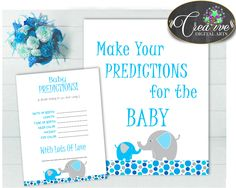 Now available at our store: PREDICTIONS FOR B.... Check it out here! http://snoopy-online.myshopify.com/products/predictions-for-baby-sign-and-cards-activity-printable-for-baby-shower-with-aqua-blue-gray-color-elephant-theme-instant-download-ebl01