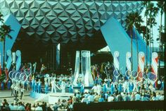 EPCOT - opening ceremony on October 1982 Opening Day, Opening Ceremony, Disney Parks, Walt Disney World, Marketing Poster, Walt Disney Imagineering, Museum Poster, Epcot Center, Spaceship Earth