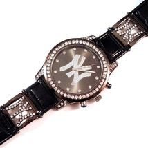 Watch New York NY Initial Big Crystal Face Black Faux Leather Band Strap