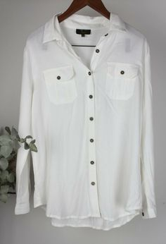 03ef9ea3dfa ICE DESIGNS Ladies - Size L - White Long Sleeve Button Up Shirt Top   IceDesigns