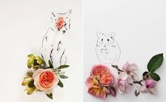 Poetic Illustrations of Animals Featuring Flowers  Kari Herer is an American photographer but also a talented and imaginative illustrator. She creates cute illustrations of animals made with a simple line of black-thin-tip pen. She adds a poetic touches with flowers. She uses it to complete a part of the animal to bring it a shelf or a hiding place. Prints are available on the artists online shop.                  #xemtvhay