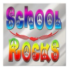 Features decorative text with peace symbols, heart with wings. Rainbow colored Text is School Rocks. Celebrate going Back to school with this cool design. Cool stuff for Back to School and to decorate your room.