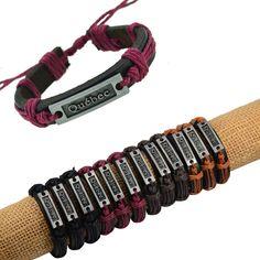 """New Man!12pcs Alloy Tone """"Quebec"""" Genuine Black Leather &Mixcolor Hemp Bracelets #cheapfine #fashion"""