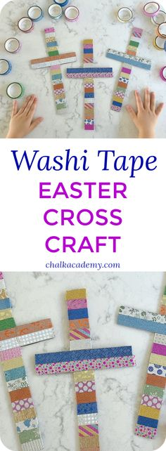Washi tape cross craft - a beautiful easter activity kbn act Easter Crafts For Adults, Bible Crafts For Kids, Toddler Crafts, Preschool Crafts, Kids Bible, Sunday School Crafts For Kids, Preschool Classroom, Kid Crafts, Easy Crafts