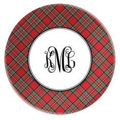 Monogram plaid plates