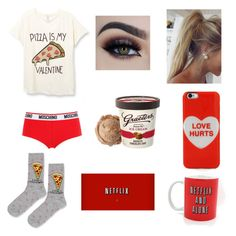 Loner on Valentine's Day starter pack  By: Kelsey C. by kelseyclark70 on Polyvore featuring polyvore, fashion, style, Topshop, Moschino, Marc Jacobs and clothing