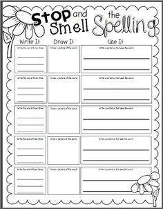 spelling homework sheets