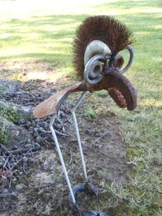 Fancy Shovel Bird with glasses  Rusty Relics Metal Art