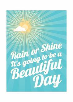 A Beautiful Day - typografiedruk - geluk en inspiratie voor vandaag morgen en elke dag 5x7