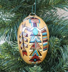 Southwestern Hand-painted Gourd Ornament with by AChristmasbyCarol