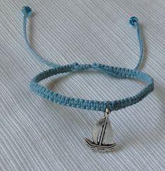Sail Boat Macramé Charm Bracelet by BoilerChic on Etsy, $10.00